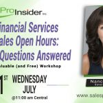 Join Us Wednesday, July 21st for the Financial Services Sales Open Hours